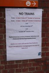 Notice that no trains are running on the weekend of October 27 and 28, 2012