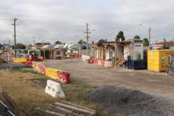 Site huts in place west of Middle Footscray station