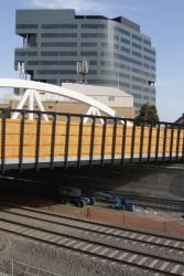 Western side of the bridge with temporary timber parapets