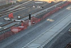 Concrete sleepers in place for the new RRL tracks beside North Melbourne station