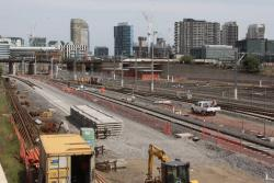 Laying the RRL tracks beside North Melbourne station
