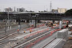 Laying track for the new V/Line stabling sidings at Melbourne Yard