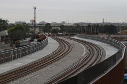 North Melbourne flyover now two dual gauge tracks with checkrails