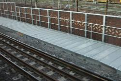 Five rails on the dual gauge, and the completed flyover walkways