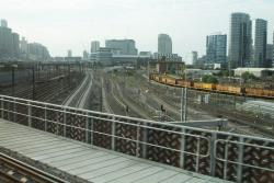 Looking down on the new RRL tracks headed south, from the rebuilt flyover