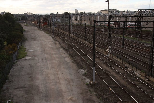 Trackbed partially cleared north of Latrobe Street for the new Regional Rail Link tracks