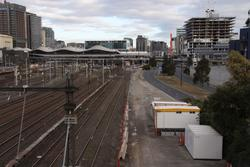 Trackbed partially cleared south of Latrobe Street for the new Regional Rail Link tracks