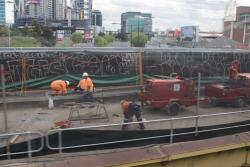 Working to refurbish the existing Dudley Street bridge before the RRL tracks are laid