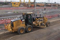 Grader at work along the route of the RRL tracks
