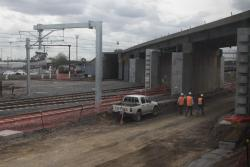Path of the RRL tracks cleared beneath the North Melbourne flyover