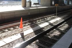 Track in platform 15 at Southern Cross awaiting ballast