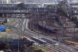 Looking towards North Melbourne: West and East Bypass Track, then the up and down RRL lines