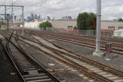 Crossovers for Werribee line trains at South Kensington to access the RRL track pair towards Spion Kop