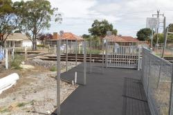 Automatic pedestrian gates awaiting commissioning at Adelaide Street