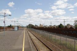 Ardeer station now hidden on both sides by steel noise walls