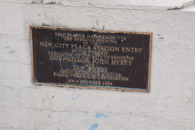 Plaque marking the opening of the new City Place station entry on 6 October 1994