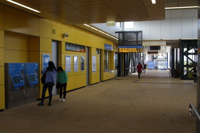 Myki machines and booking office in the new overhead concourse