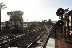 Signals for trains departing Sunshine platforms 3 and 4 on the down