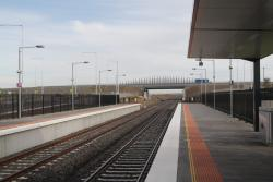 Looking down the line from Tarneit station towards Derrimut Road