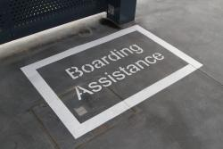 'Boarding Assistance' area at the departure end of platform 1