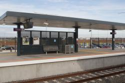 Covered but exposed waiting area at Tarneit platform 2