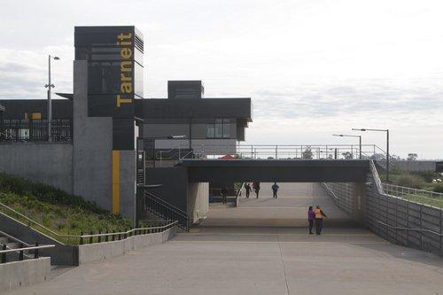 Looking north under the pedestrian underpass at Tarneit
