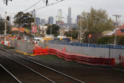 West Footscray: Concrete crash barriers between Buckley Street and the future RRL tracks