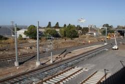RRL track pair comes to an end at the former West Footscray station site