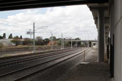 Pair of RRL tracks parallel the down suburban track