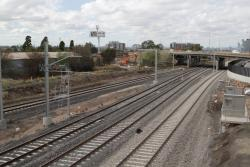 RRL track pair and the realigned suburban tracks pass beneath Geelong Road towards the city