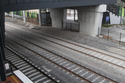 RRL track pair and the down suburban track pass beneath the station concourse