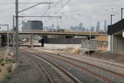 RRL track pair head beneath Geelong Road towards the city
