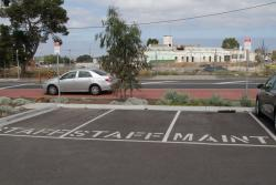 Three reserved carparks for rail staff and maintenance workers - the station is unmanned...