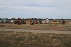 Earthmoving equipment ready to prepare the site