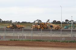 Wyndham Vale Stabling: Ballast tamper and regulator parked between jobs