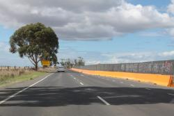 Crash barriers along the work site at Ballan Road