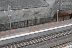 Temporary fencing in place along the platform edge