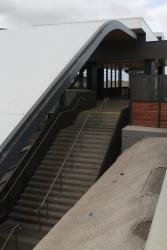 Roof covers the steps to the platform