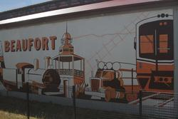 Sprinter train features in a mural on the goods shed at Beaufort station
