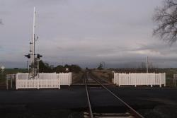 Looking east at the reopened Avenue Road level crossing at Burrumbeet