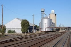 Up end of Dimboola station, and the old silos