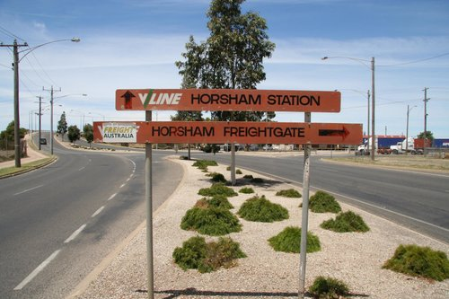 Orange V/Line signage for the freightgate and the station