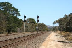 Departure signals at the up end of the loop, number 1 road to the right