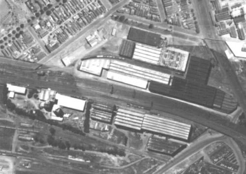1945 aerial photo of South Kensington Station