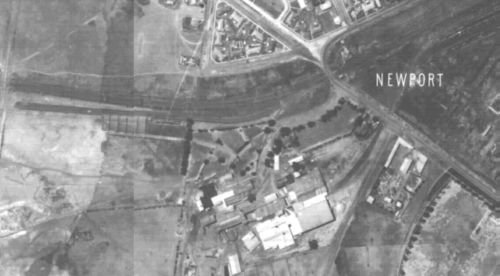 1945 aerial photo of Newport Freezing Works